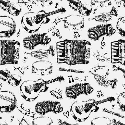 Modello senza cuciture di strumenti musicali vettore
