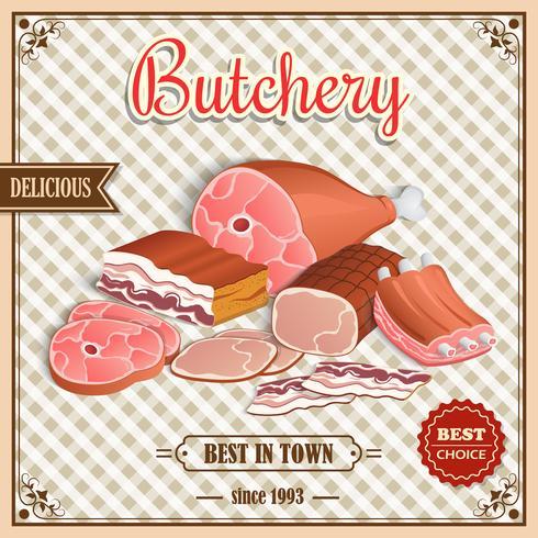 Poster di carne retrò vettore