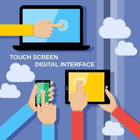 Gadget touch screen vettore