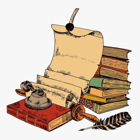 Piuma di carta e libri vettore