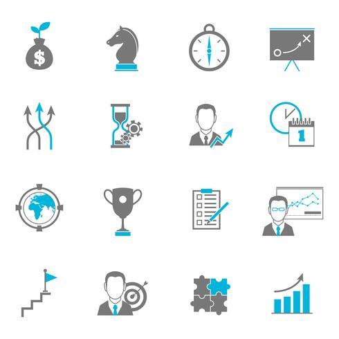 Icone di pianificazione di strategia aziendale vettore