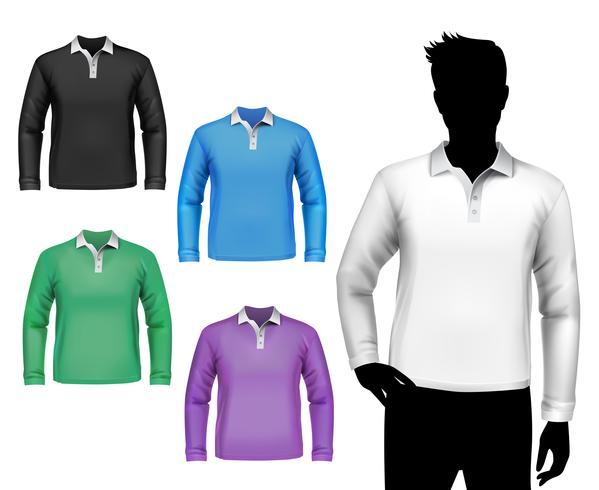 T-shirt polo maschile manica lunga set vettore