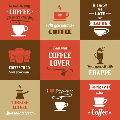 Set mini poster caffè vettore