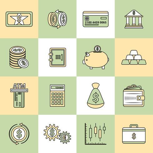 Linea piatta di denaro finanza icone vettore