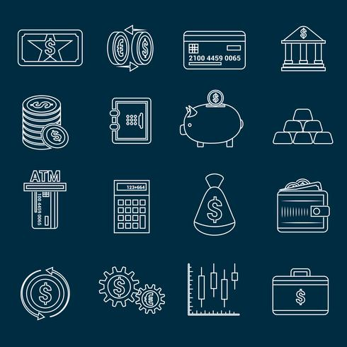 Contorno di icone finanza soldi vettore
