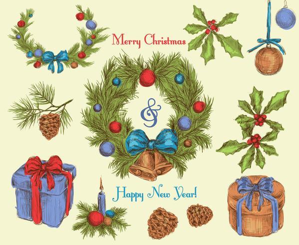 Schizzo di decorazioni natalizie colorate vettore