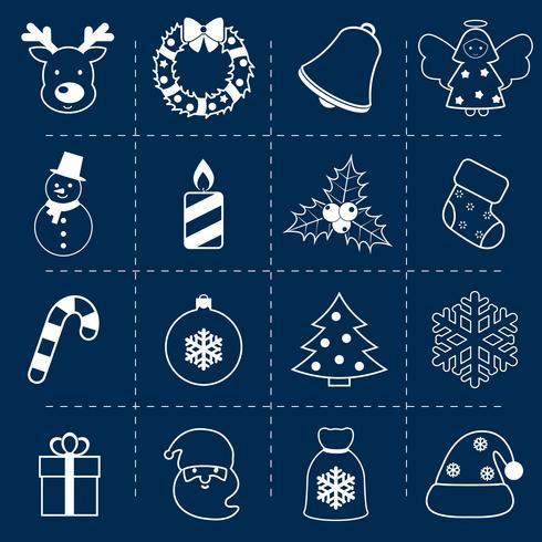 Icone di Natale impostare contorno vettore