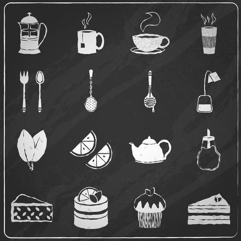 Le icone del tè hanno impostato la lavagna vettore