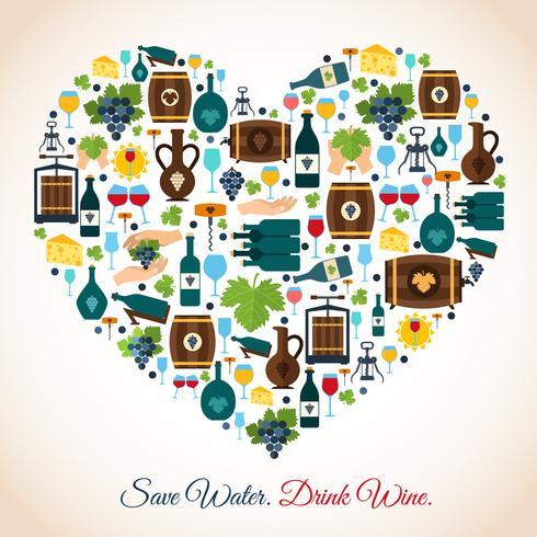Icone del cuore di vino vettore