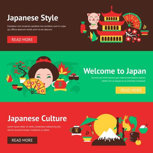 Set di banner del Giappone vettore