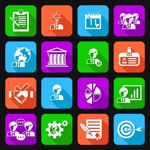 Icone di gestione aziendale piatte vettore