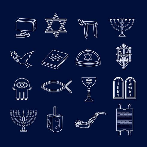 Le icone dell'ebraismo disegnano un contorno vettore