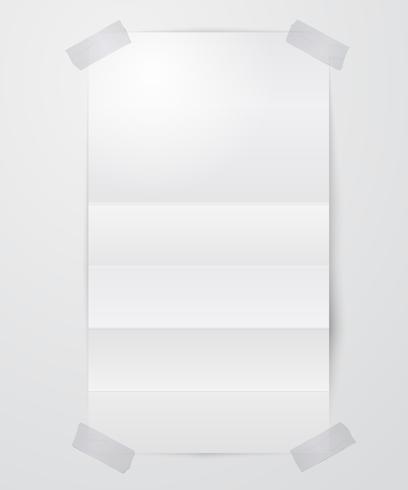 Foglio di carta piegato con nastro adesivo vettore