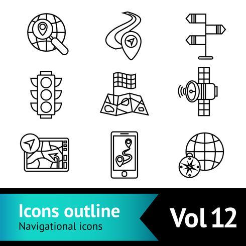 Set di icone di navigazione mobile vettore
