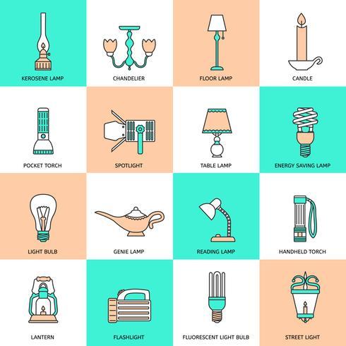 Icone di torcia e lampade linea piatta vettore