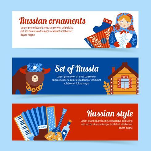 Set di banner di viaggio Russia vettore