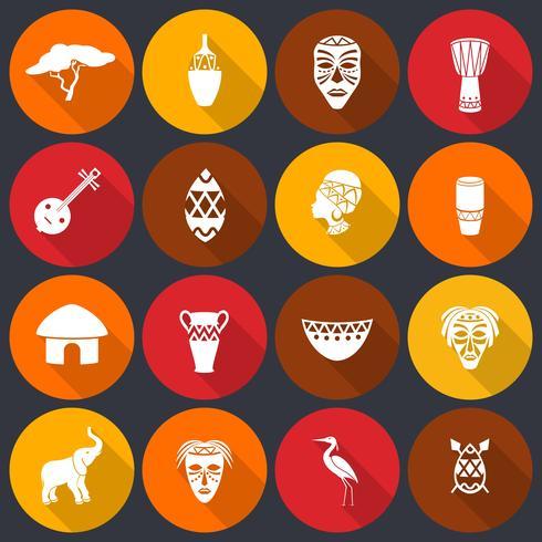 Icone dell'Africa messe piatte vettore