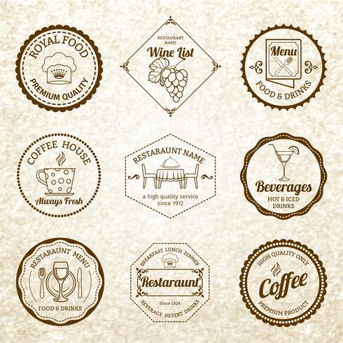Set di etichette ristorante nero vettore