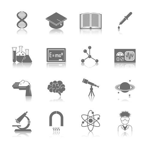 Icona nera di scienza e ricerca vettore