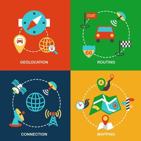 Set piatto di navigazione mobile vettore
