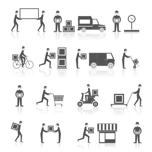 Icone di consegna set nero vettore