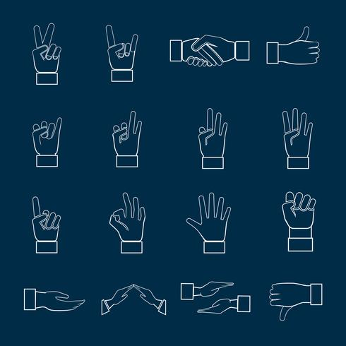 Le icone delle mani hanno messo il profilo vettore