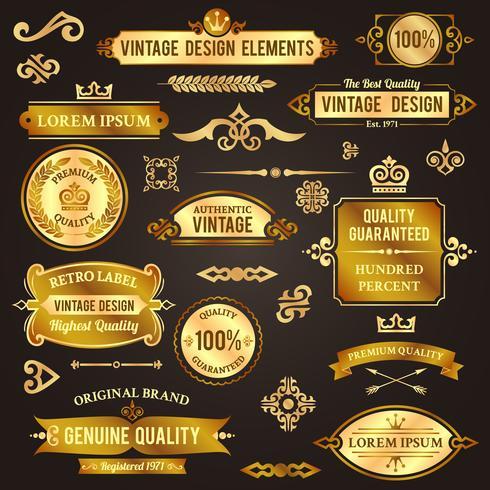 Elementi di design vintage d'oro vettore