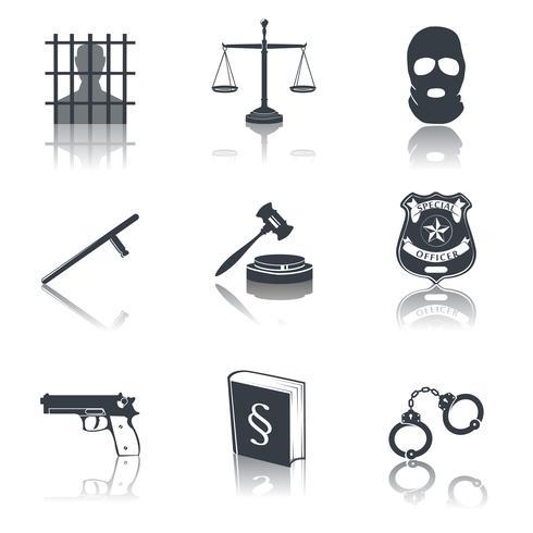 Icone di legge e giustizia nere vettore