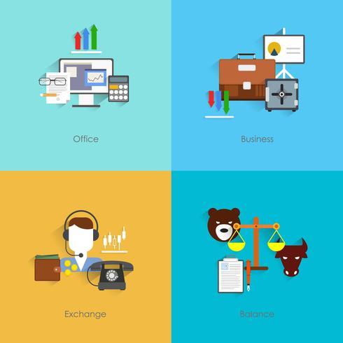 Icone di scambio di finanze piane vettore