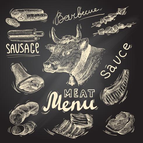 Set di lavagna di carne vettore