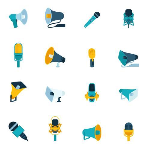Icone del microfono e megafono piatte vettore