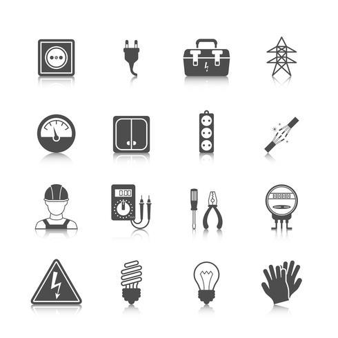 Elettricità icona nera vettore