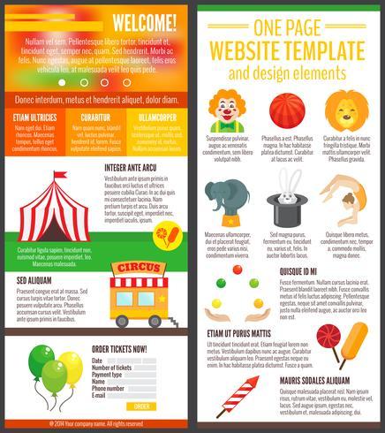 Pagina del sito web di circo vettore
