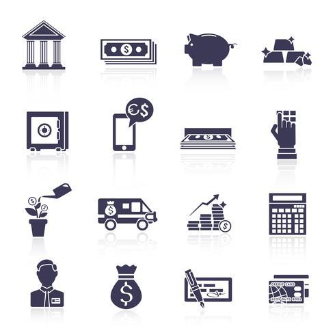 Set di icone di servizio bancario nero vettore
