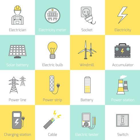 Icona di elettricità linea piatta vettore