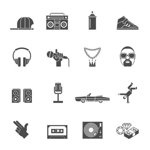 Set di icone di musica rap vettore