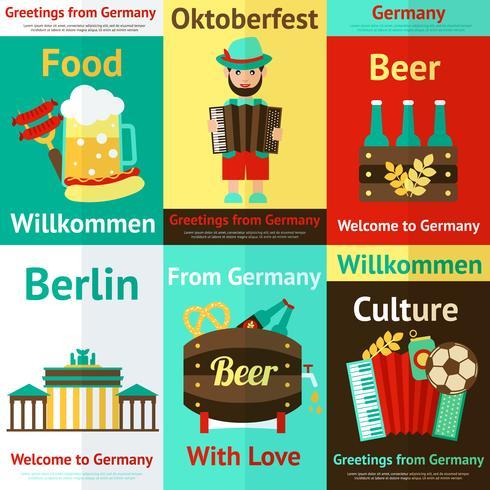 Set di poster retrò di viaggio Germania vettore