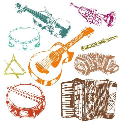Set di icone di icone di strumenti musicali vettore