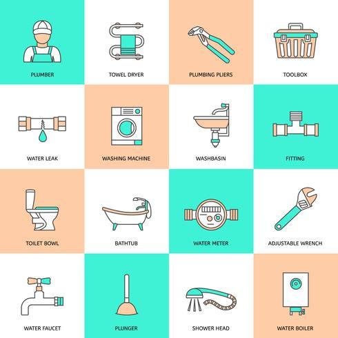 Set di icone piane di impianti idraulici vettore