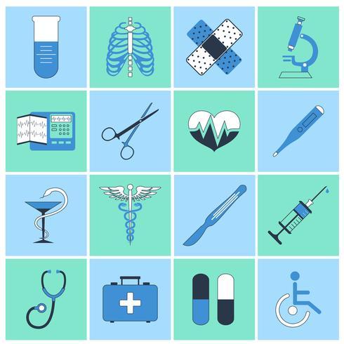 Linea piatta icone mediche vettore