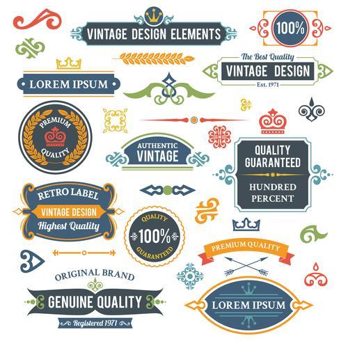 Elementi di design d'epoca vettore