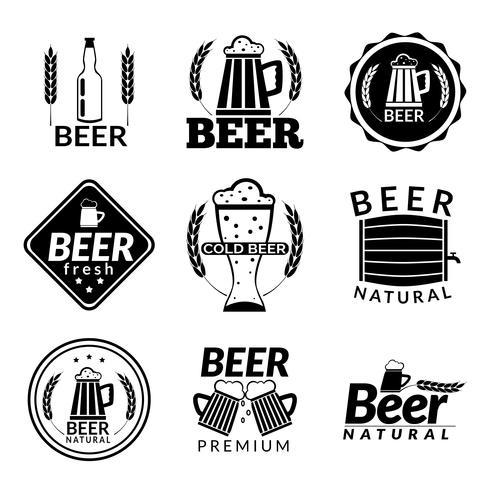 Emblemi di birra nera vettore