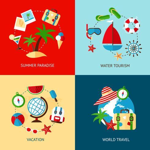 Set piatto icone di vacanza vettore
