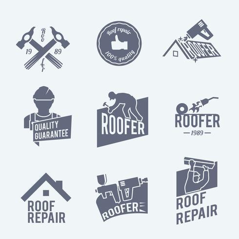 Set di etichette per tetti grigio vettore