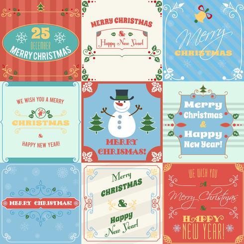 Set di cartoline di Natale vettore