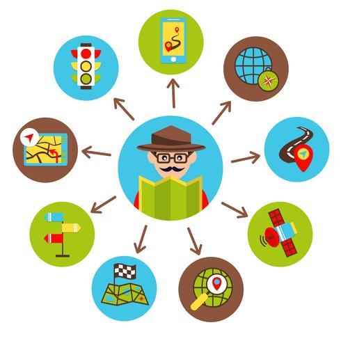 Illustrazione icone di navigazione vettore