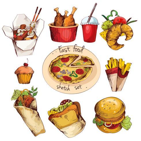 Set di schizzo di fast food vettore