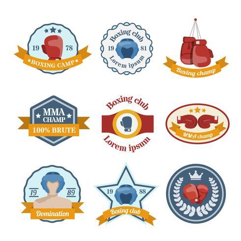 Set di etichette di pugilato vettore
