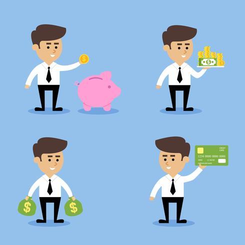 Concetti finanziari uomo d'affari vettore