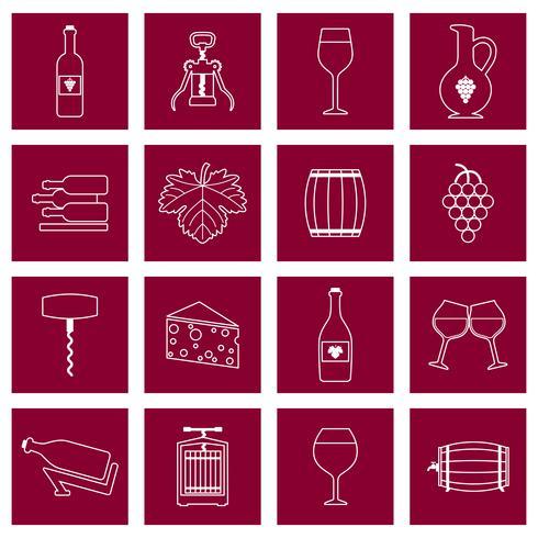 Icone del vino set outline vettore